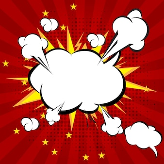 Cartoon, boom explosie comic speech bubble