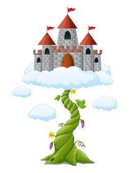 Cartoon boonspruit met kasteel in de wolken