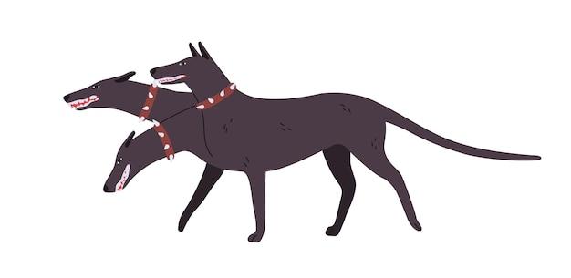 Cartoon boos driekoppige hond cerberus platte vectorillustratie. kleurrijke fairy tail hellhound in kraag geïsoleerd op een witte achtergrond. krachtig mythologisch gevaarlijk beest.