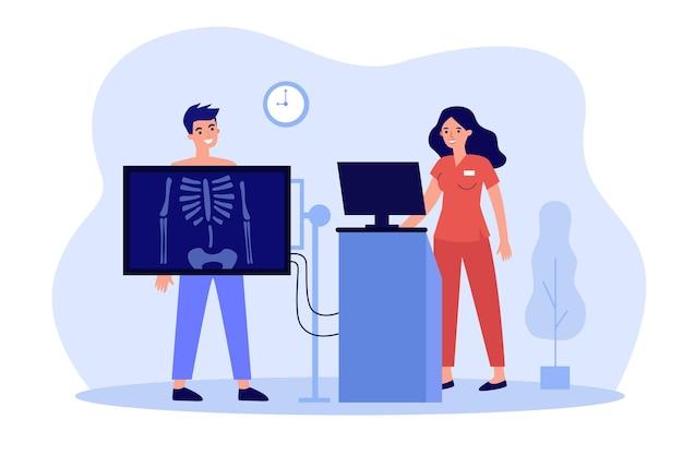 Cartoon bottenonderzoek in kliniek of ziekenhuis