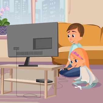 Cartoon boy play videogame sit on floor girl watch