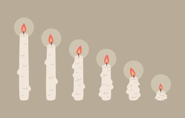 Cartoon brandende paraffine kaarsen doodle vectorillustratie