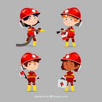 Cartoon brandweerman karakters in actie
