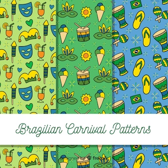 Cartoon braziliaanse carnaval patroon