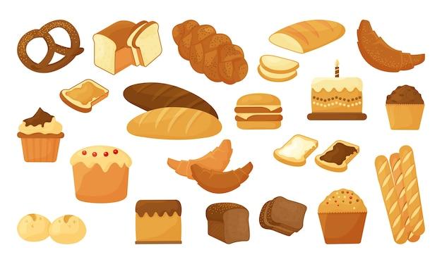 Cartoon brood, bakkerij gebak product geïsoleerd