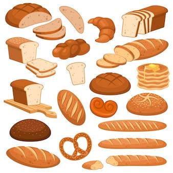 Cartoon brood. bakkerijroggeproducten, tarwe en volkoren gesneden brood. frans stokbrood, croissant en bagel, toastmenu broodgranen verschillende broodjes gebak