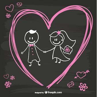 Cartoon bruid en bruidegom blackboard ontwerp