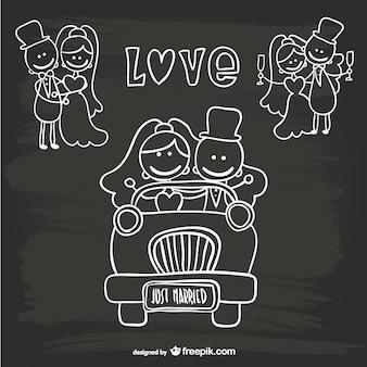 Cartoon bruidspaar net getrouwd sjabloon
