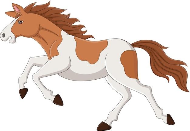 Cartoon bruin en wit paard rennen