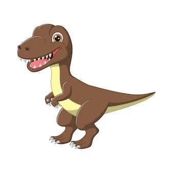 Cartoon bruine dinosaurus tyrannosaurus rex