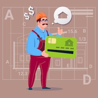 Cartoon builder hold credit card verkoop onroerend goed onroerend goed