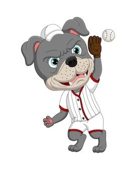 Cartoon buldog die een honkbal speelt