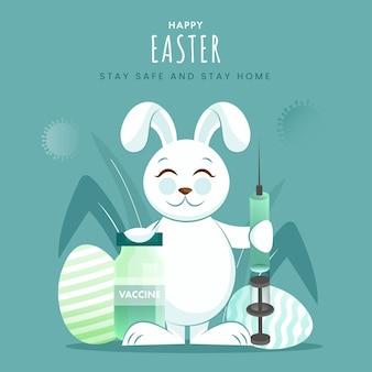 Cartoon bunny bedrijf spuit met vaccin fles en eieren ter gelegenheid van vrolijk pasen. stop het coronavirus.