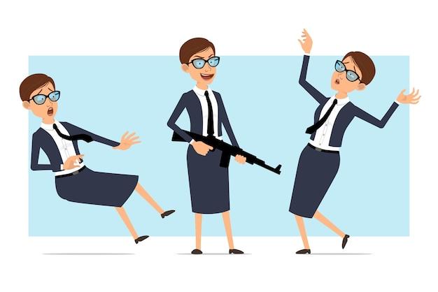 Cartoon business coach vrouw karakter houdingen