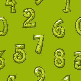 Cartoon cactus nummers naadloze patroon, achtergrond groene heldere cijfers