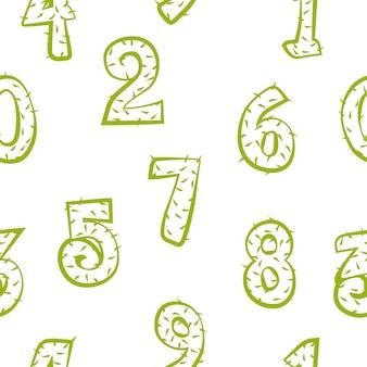 Cartoon cactus nummers naadloze patroon, textuur stekelige silhouetten cijfers voor spel ui
