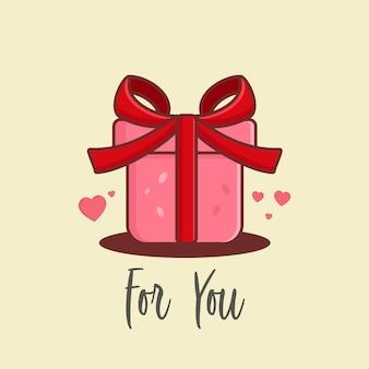 Cartoon cadeau vector voor valentijn dagen