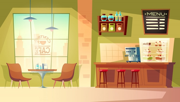 Cartoon café met raam - gezellig interieur met koffiemachine, tafel.