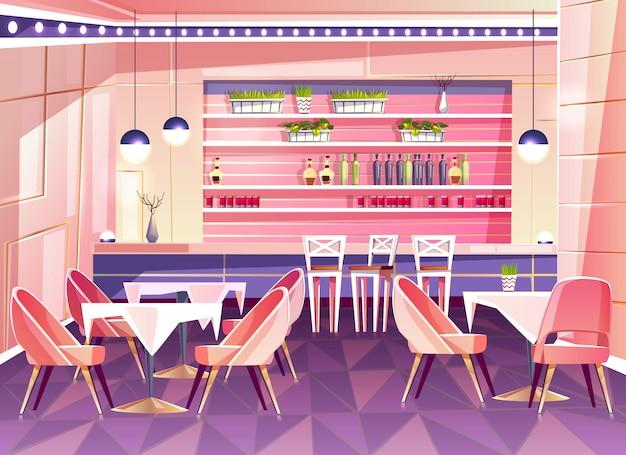 Cartoon café met toog - gezellig interieur met planten in potten, tafels en stoelen.