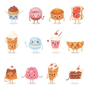 Cartoon cake karakter chocolade snoep suikerwerk cupcake emotie en zoet gebak dessert met aangekoekte snoepjes illustratie donut in bakkerij set geïsoleerd op witte achtergrond