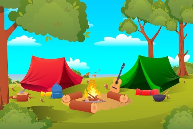Cartoon camping, wandeluitrusting tenten, gereedschap