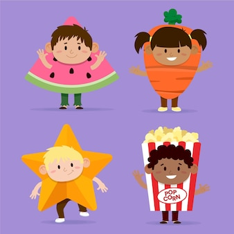 Cartoon carnaval kinderen kostuums set