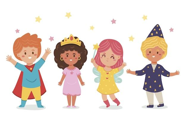 Cartoon carnaval kinderkostuums collectie
