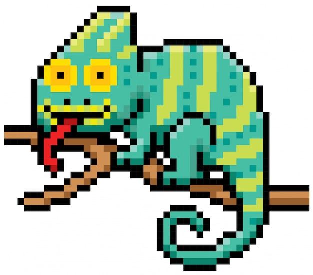 Cartoon chameleon pixel ontwerp