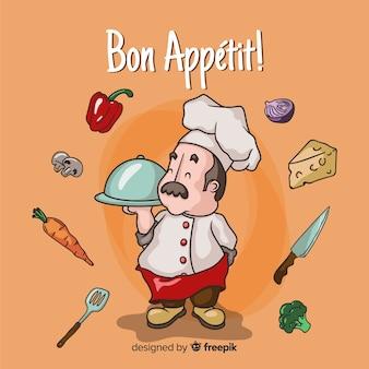 Cartoon chef-kok achtergrond