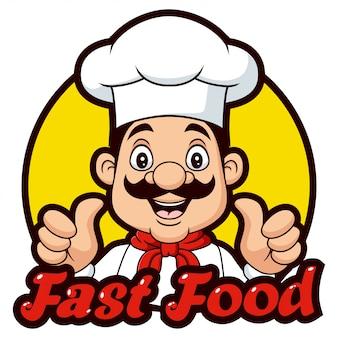 Cartoon chef-kok geven duimen omhoog
