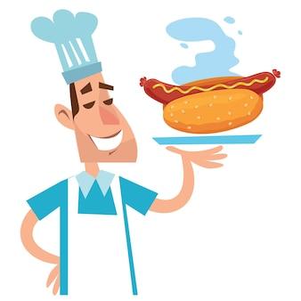 Cartoon chef-kok in een pet met een dienblad met een hotdog. vector teken in kinderachtige stijl plat.