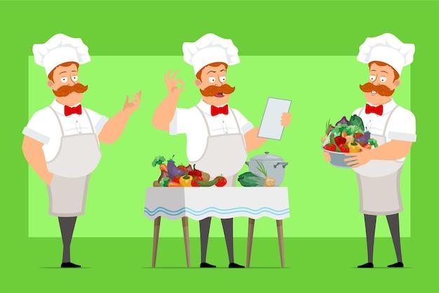 Cartoon chef kok man karakter in wit uniform en bakker hoed
