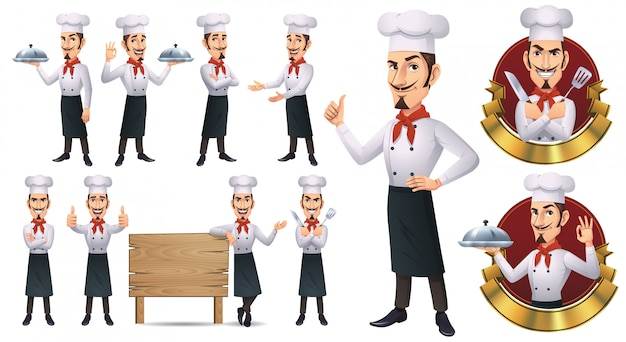 Cartoon chef-kok mascotte