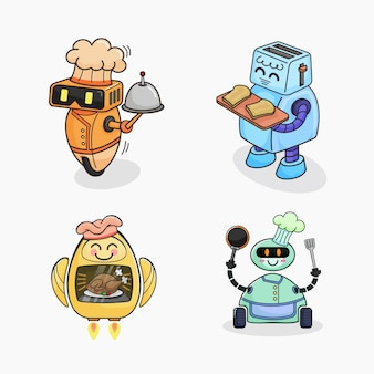 Cartoon chef-kok robots collectie