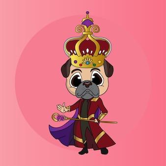 Cartoon chibi hond koning karakter met scepter, mantel en kroon
