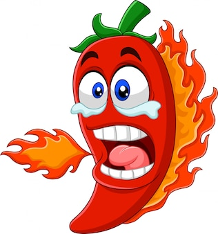 Cartoon chili peper ademhaling vuur