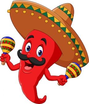 Cartoon chili peper maracas spelen