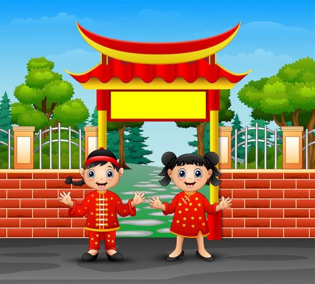Cartoon chinese kinderen in openlucht