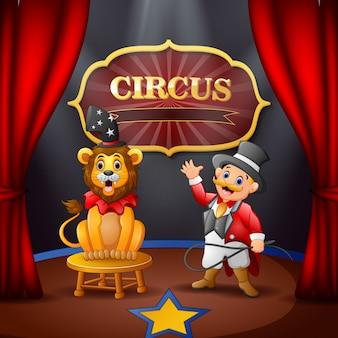 Cartoon circusdirecteur en een leeuw op het circuspodium