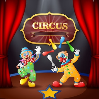 Cartoon circusshow met clowns op het podium
