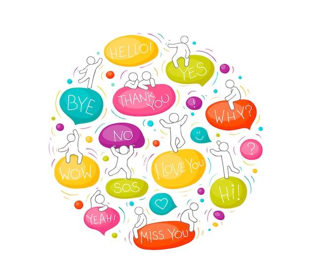 Cartoon cirkel illustratie met tekstballonnen. komische hand getekende sjabloon met kleine mensen.