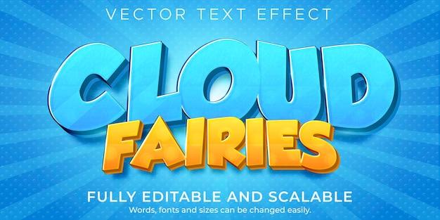 Cartoon cloud-teksteffect, bewerkbare komische en leuke tekststijl