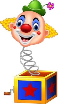 Cartoon clown hoofd coming out van de doos