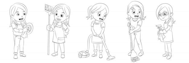 Cartoon collectie meisjes schoonmaken van het huis voor het kleuren van boeken