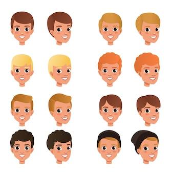 Cartoon collectie van verschillende jongenskapsels en kleuren zwart, blond, rood, bruin