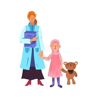 Cartoon concept van moslim vrouwelijke arts in hijab en een klein meisje met haar speelgoed