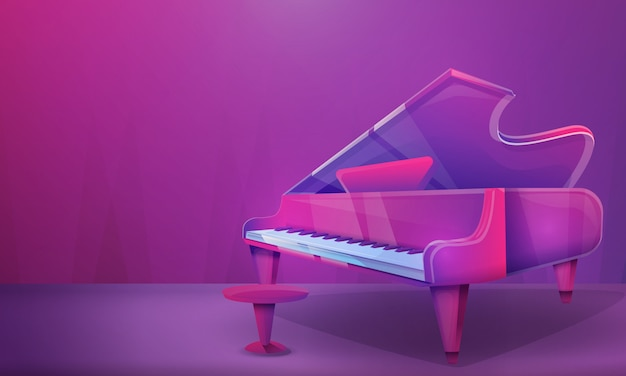 Cartoon concertzaal met piano, vectorillustratie