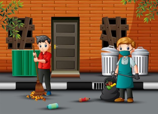 Cartoon conciërge man met een bezem opruimen van de weg