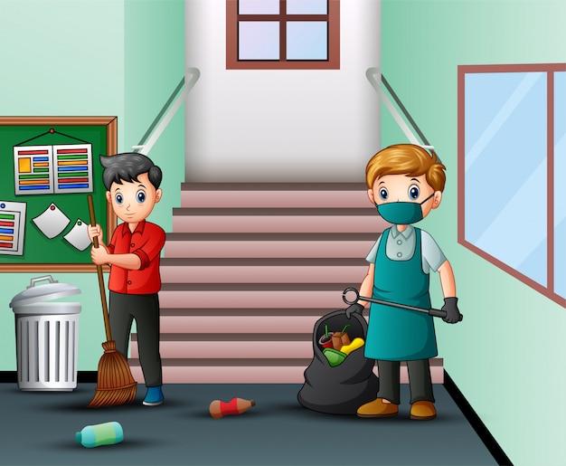 Cartoon conciërge man schoonmaak school gang