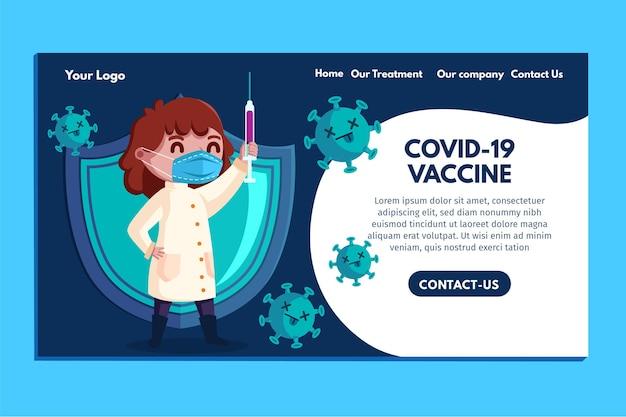 Cartoon coronavirus vaccin websjabloon geïllustreerd
